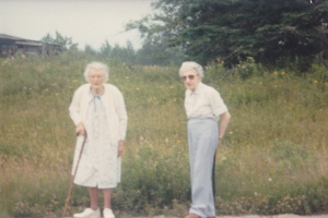 Ethel & Hazel in Wesley, Maine cir. 1988