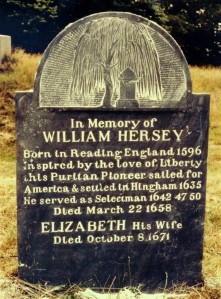 Memorial of William Hersey and his wife Elizabeth Croade. Photo taken in 1989 by Tim Cooper while visiting the cemetery with mother, Ruth Marcelyn (Hersey) Cooper. Added by: Tim Cooper 7/31/2008 from Find a Grave