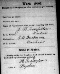 Back of Death record for Ephraim W. Reynolds