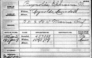 Pension card for Ephraim W Reynolds - Civil War
