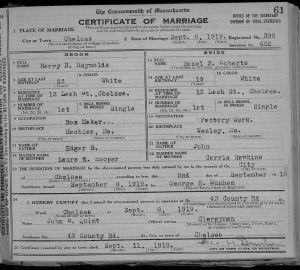 Hazel Roberts - Harry Reynolds Marriage License