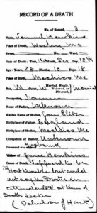 Samuel Melville Hawkins Death Certificate