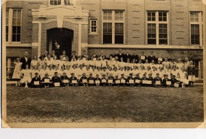 Graduation class with Helen Reynolds in it - Killingly, CT cir 1937